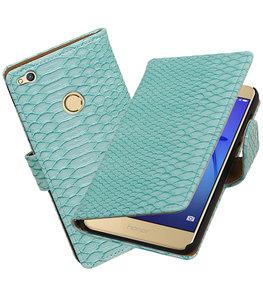 Turquoise Slang booktype wallet cover voor Hoesje voor Huawei P8 Lite 2017 / P9 Lite 2017