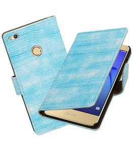 Turquoise Mini Slang booktype wallet cover voor Hoesje voor Huawei P8 Lite 2017 / P9 Lite 2017
