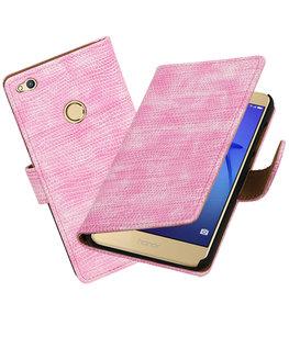 Roze Mini Slang booktype wallet cover voor Hoesje voor Huawei P8 Lite 2017 / P9 Lite 2017