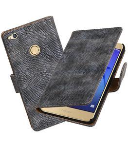 Grijs Mini Slang booktype wallet cover voor Hoesje voor Huawei P8 Lite 2017 / P9 Lite 2017