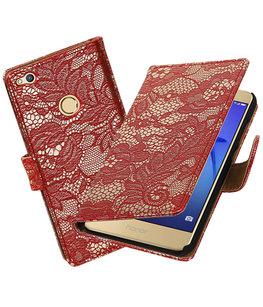 Rood Lace booktype wallet cover voor Hoesje voor Huawei P8 Lite 2017 / P9 Lite 2017