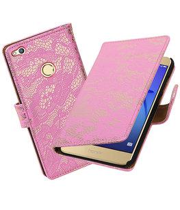 Roze Lace booktype wallet cover voor Hoesje voor Huawei P8 Lite 2017 / P9 Lite 2017