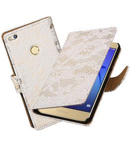 Wit Lace booktype wallet cover voor Hoesje voor Huawei P8 Lite 2017 / P9 Lite 2017