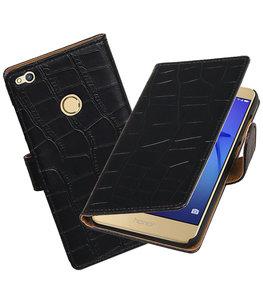 Zwart Krokodil booktype wallet cover voor Hoesje voor Huawei P8 Lite 2017 / P9 Lite 2017