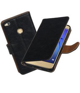 Zwart Pull-Up PU booktype wallet cover voor Hoesje voor Huawei P8 Lite 2017 / P9 Lite 2017