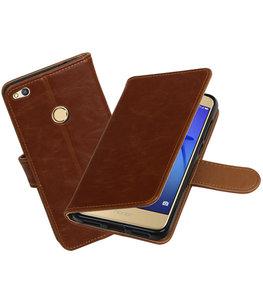 Bruin Pull-Up PU booktype wallet cover voor Hoesje voor Huawei P8 Lite 2017 / P9 Lite 2017