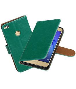 Groen Pull-Up PU booktype wallet cover voor Hoesje voor Huawei P8 Lite 2017 / P9 Lite 2017