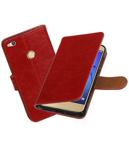 Rood Pull-Up PU booktype wallet cover voor Hoesje voor Huawei P8 Lite 2017 / P9 Lite 2017