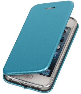 Blauw Premium Folio leder look booktype smartphone voor Hoesje voor Apple iPhone 5 / 5s / SE