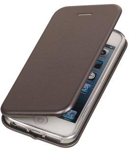 Grijs Premium Folio leder look booktype smartphone voor Hoesje voor Apple iPhone 5 / 5s / SE