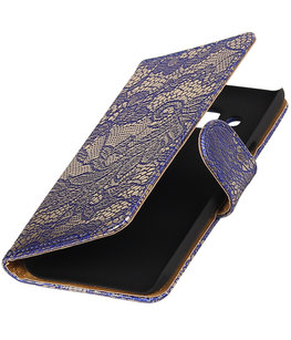 Blauw Lace booktype wallet cover voor Hoesje voor Samsung Galaxy A3 2017 A320F