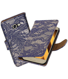 Blauw Lace booktype wallet cover Hoesje voor Samsung Galaxy A5 2017