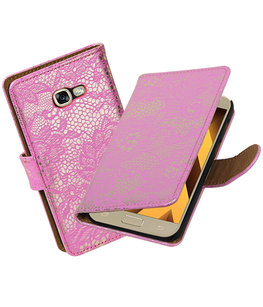 Roze Lace booktype wallet cover Hoesje voor Samsung Galaxy A5 2017