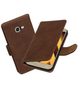 Bruin Hout booktype wallet cover Hoesje voor Samsung Galaxy A5 2017