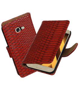 Rood Slang booktype wallet cover Hoesje voor Samsung Galaxy A5 2017