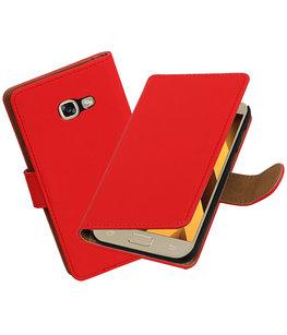 Rood Effen booktype wallet cover Hoesje voor Samsung Galaxy A5 2017