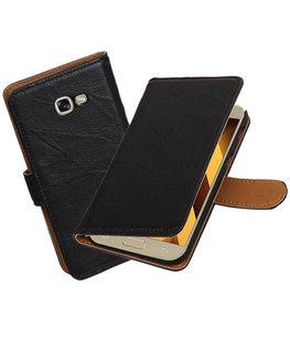 Zwart Echt Leer Leder booktype Hoesje voor Samsung Galaxy A5 2017