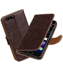 Mocca Pull-Up PU booktype wallet cover Hoesje voor Huawei P10