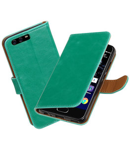 Groen Pull-Up PU booktype wallet cover Hoesje voor Huawei P10