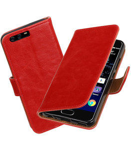 Rood Pull-Up PU booktype wallet cover Hoesje voor Huawei P10