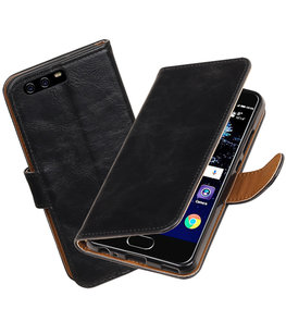 Zwart Pull-Up PU booktype wallet cover Hoesje voor Huawei P10