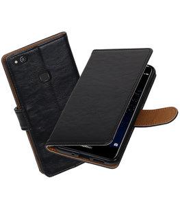 Zwart Pull-Up PU booktype wallet cover Hoesje voor Huawei P10 Lite
