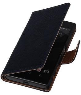 Donker Blauw Echt Leer Leder booktype wallet Hoesje voor Apple iPhone 7 / 8