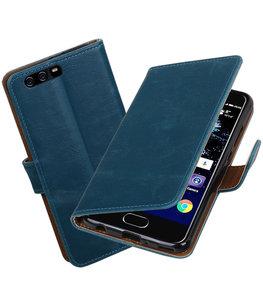 Blauw Pull-Up PU booktype Hoesje voor Huawei P10 Plus