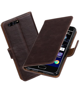 Mocca Pull-Up PU booktype Hoesje voor Huawei P10 Plus