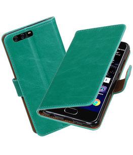 Groen Pull-Up PU booktype Hoesje voor Huawei P10 Plus