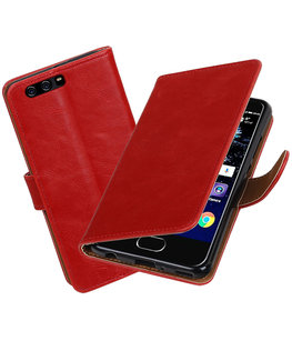 Rood Pull-Up PU booktype Hoesje voor Huawei P10 Plus