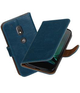 Blauw Pull-Up PU booktype Hoesje voor Motorola Moto G4 Play