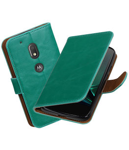 Groen Pull-Up PU booktype Hoesje voor Motorola Moto G4 Play