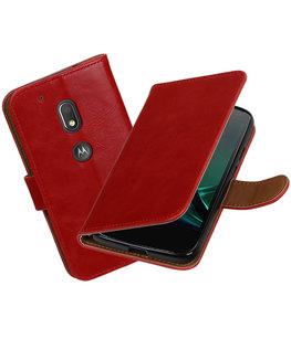Rood Pull-Up PU booktype Hoesje voor Motorola Moto G4 Play