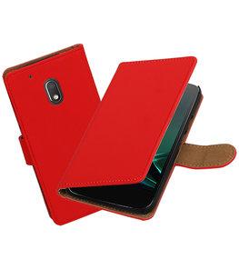 Rood Effen booktype voor Hoesje voor Motorola Moto G4 Play