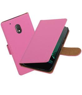 Roze Effen booktype voor Hoesje voor Motorola Moto G4 Play