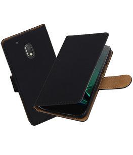Zwart Effen booktype voor Hoesje voor Motorola Moto G4 Play