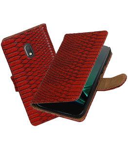 Rood Slang booktype voor Hoesje voor Motorola Moto G4 Play