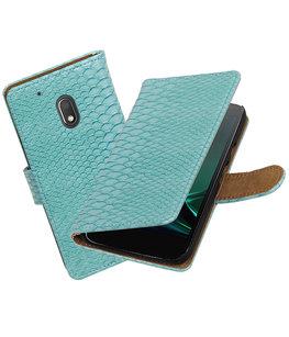 Turquoise Slang booktype voor Hoesje voor Motorola Moto G4 Play