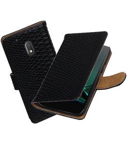 Zwart Slang booktype voor Hoesje voor Motorola Moto G4 Play