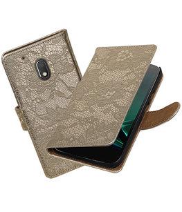 Goud Lace booktype voor Hoesje voor Motorola Moto G4 Play