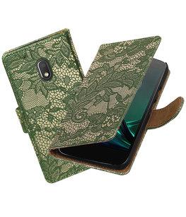 Donker Groen Lace booktype voor Hoesje voor Motorola Moto G4 Play