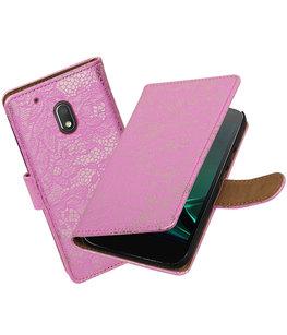Roze Lace booktype voor Hoesje voor Motorola Moto G4 Play