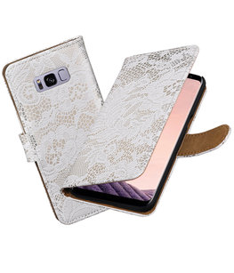 Hoesje voor Samsung Galaxy S8 Lace booktype Wit