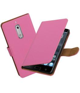 Hoesje voor Nokia 5 Effen booktype Roze