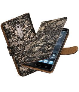 Hoesje voor Nokia 5 Lace booktype Zwart
