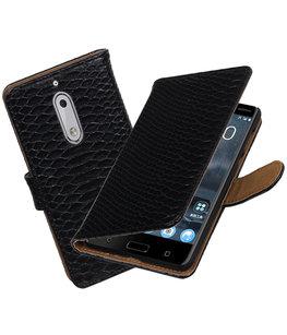 Hoesje voor Nokia 5 Slang booktype Zwart