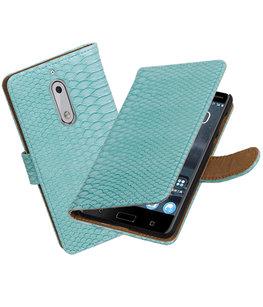 Hoesje voor Nokia 5 Slang booktype Turquoise
