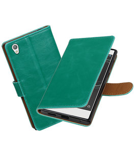 Hoesje voor Sony Xperia L1 Pull-Up booktype Groen