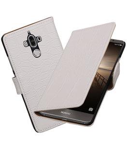 Hoesje voor Huawei Mate 9 Krokodil booktype Wit